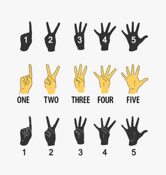 set of symbols counting hands vector image