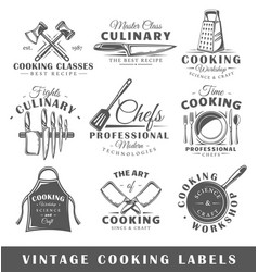 set of vintage cooking labels vector image