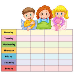 Seven days of the week table with kids in pajamas vector