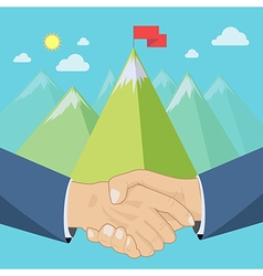 Shaking hands mountains vector