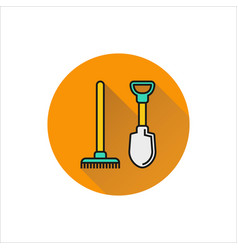 shovel and rake icon isolated on white background vector image