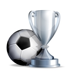 Silver cup with a football ball vector