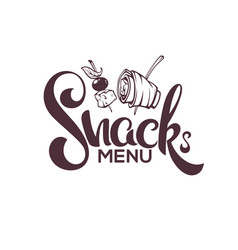 Snack menu image of hand drawn appetizers and vector