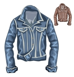 Stylish denim thick jacket with long sleeves vector