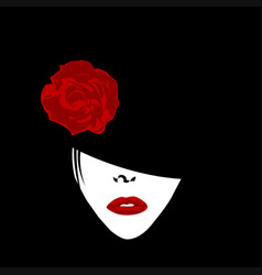 Stylized woman with hat and rose vector