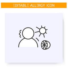 Summer allergy line icon editable vector
