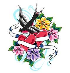 Swallow flower tattoo vector