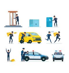 thief penetrating bank stealing money arrest vector image
