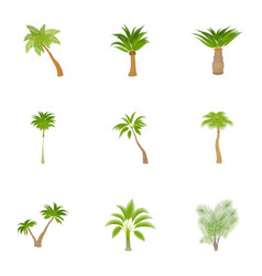 Tree palm icons set cartoon style vector
