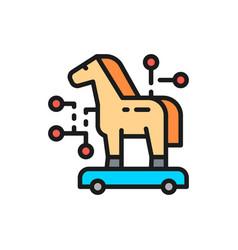 Trojan horse cyber crime virus flat color line vector