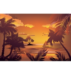 Tropical Island at Sunset2 vector image