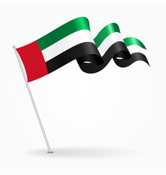 United arab emirates pin wavy flag vector