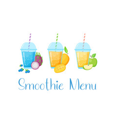 Vegeterian smoothie shake cocktail collection vector