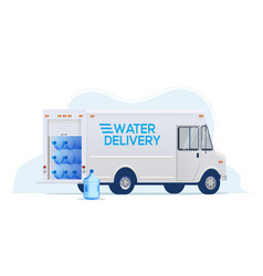 water delivery truck for water delivery service vector image