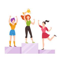 Women on winner podium office female workers vector