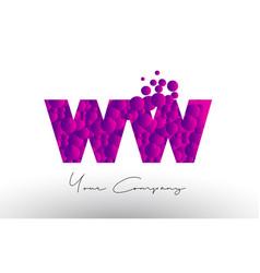 Ww w dots letter logo with purple bubbles texture vector