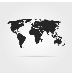 black pixel art world map with shadow vector image vector image