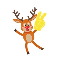 Deer in Glove with Victory Sign Isolated on White vector image
