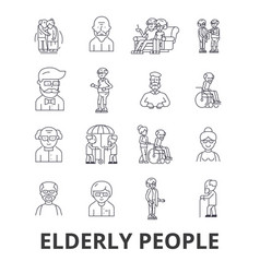 elderly people care elderly couple old people vector image