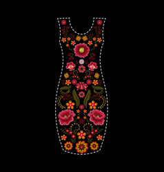 fashion dress template with floral embroidery vector image