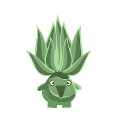 green laughing succulent emoji cartoon emotions vector image vector image