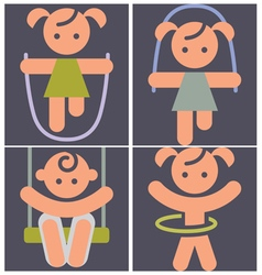 Kids activities icons set vector image