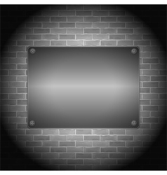 Metal Board on Brick Wall vector image vector image