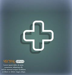 Plus icon symbol on the blue-green abstract vector image vector image