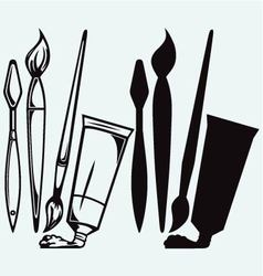 Professional brushes and tubes of paint vector image vector image
