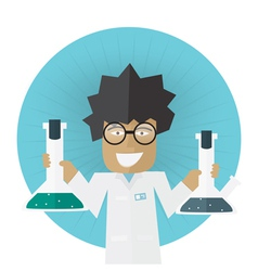 Scientist or doctor holding flask in hands vector image