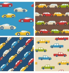 Set of seamless patterns with cars vector image