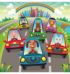 Traffic on the road vector image vector image