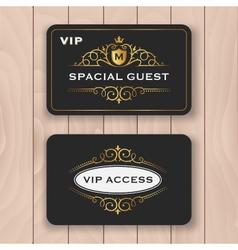 VIP access card with golden flourish frame vector image