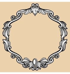 Engraving border frame with pattern in retro vector image