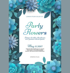 flower poster for a party vector image vector image