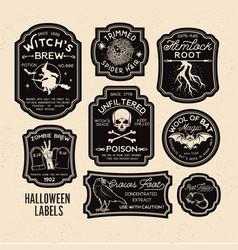 halloween bottle labels potion labels vector image