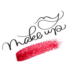 make up text with acrylic red background hand vector image vector image