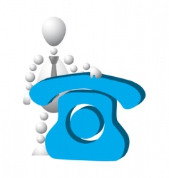 man with blue phone symbol vector image vector image