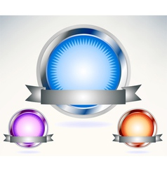 Shiny blue seal with banner vector image vector image