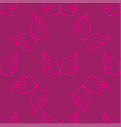 angel wings seamless lilac pink pattern vector image vector image