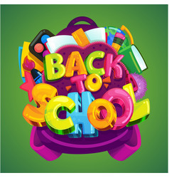 back to school emblem on a green background vector image vector image