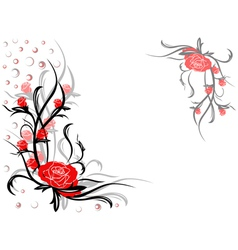 Floral swirl postcard with red roses vector image vector image