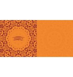 Henna orange antique banner template Mehndi vector image