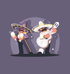 mexican musicians in sombrero vector image