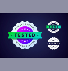 quality control tested stamp for product or vector image