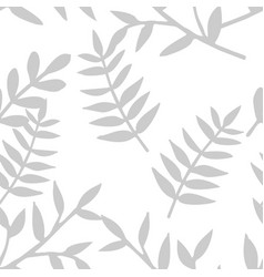 Tile tropical pattern with grey exotic leaves vector