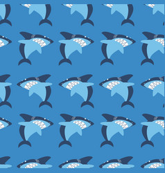 angry shark seamless pattern vector image