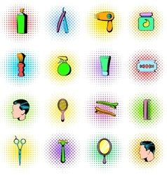 Barber shop elements icons set comics style vector image
