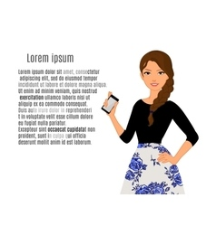 cute cartoon girls with mobile phones vector image