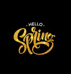 glittering hello spring handwritten calligraphy vector image vector image